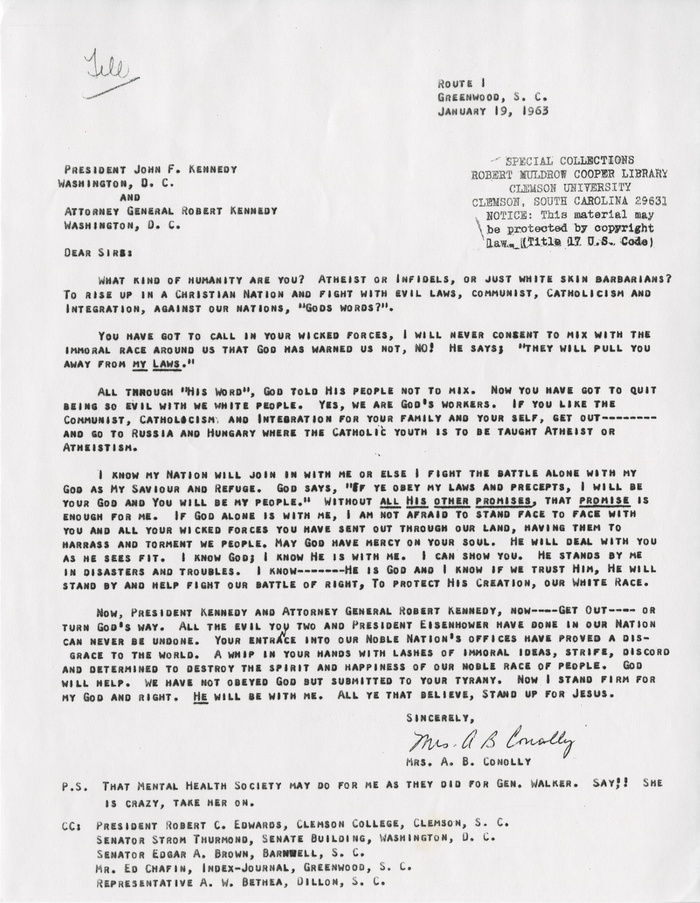 Clemson university digital collections letter from conolly to john f kennedy and robert kennedy january 1963 solutioingenieria Choice Image