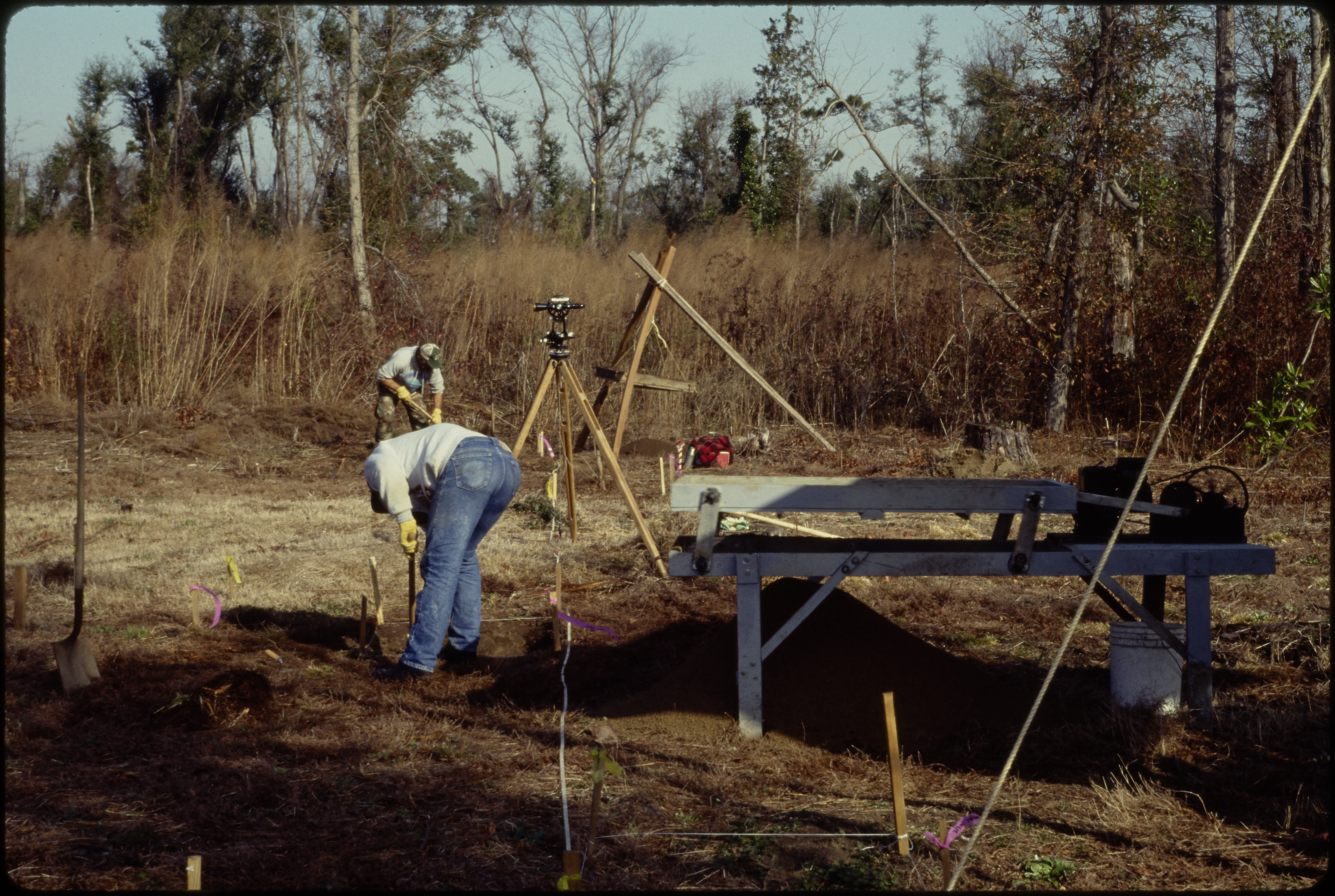 Men excavating archaeological site